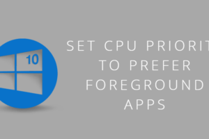 Set CPU Priority to Prefer Foreground