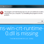 The program can't start because api-ms-win-crt-runtime-l1-1-0.dll is missing – Fixed