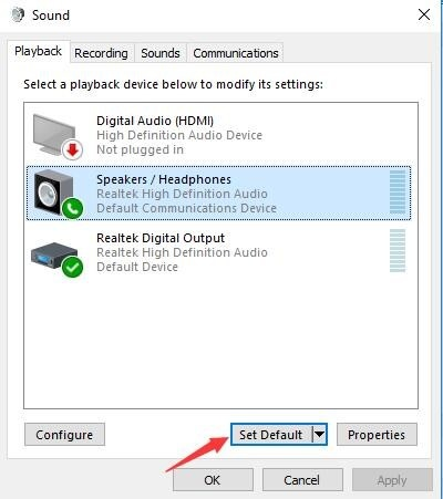 windows 10 realtek high definition audio not plugged in