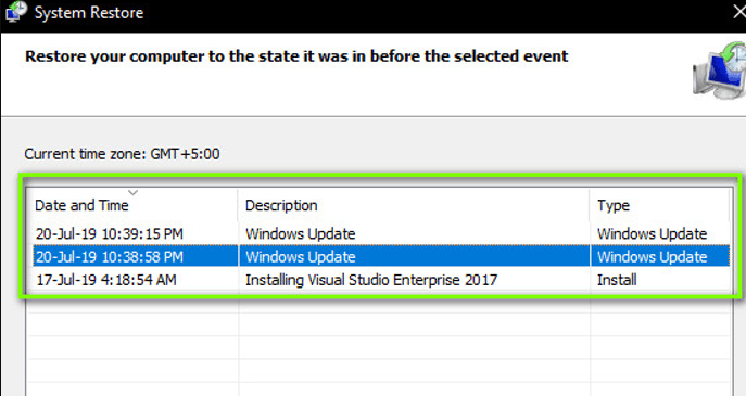 select the restore pointfrom the list