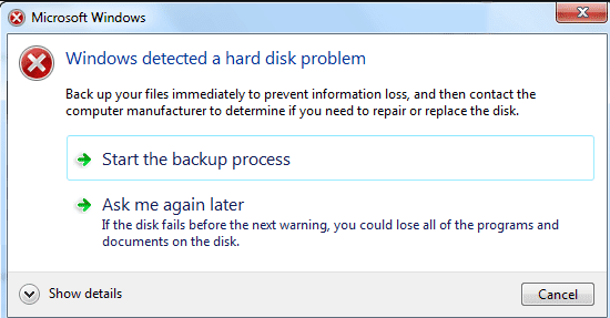 Windows Detected Hard Disk Problem