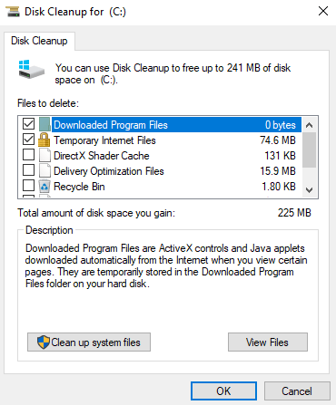 clean disk options