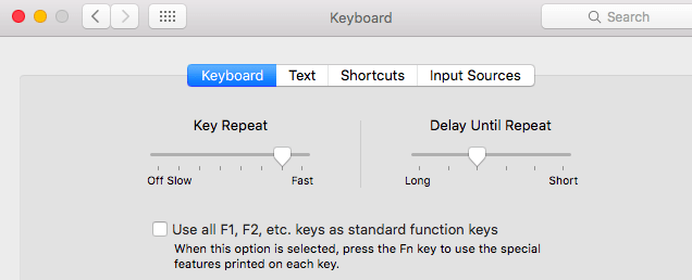 look for the keyboard options