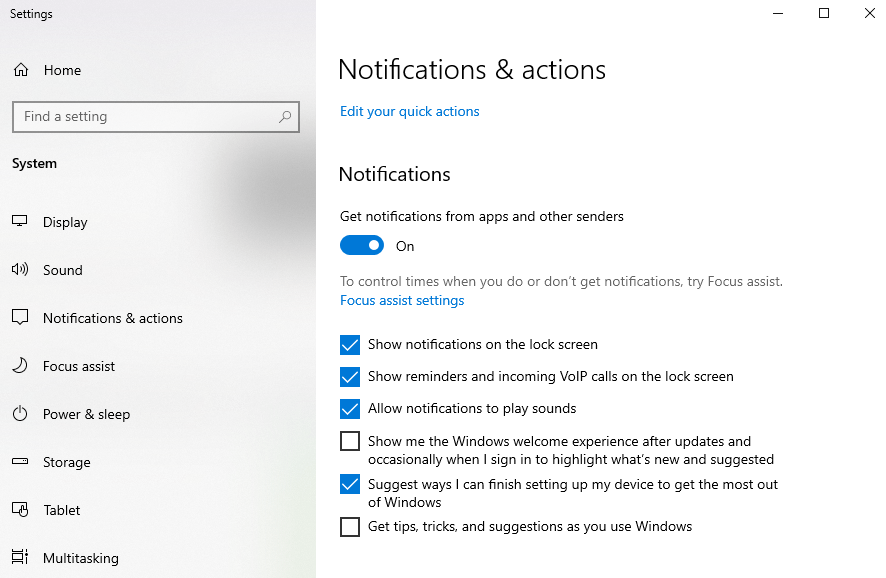 notifications and actions